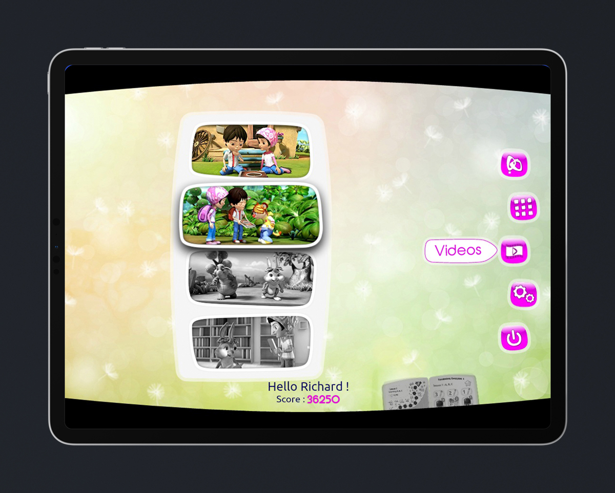 Children's English educational game UI design - Videos