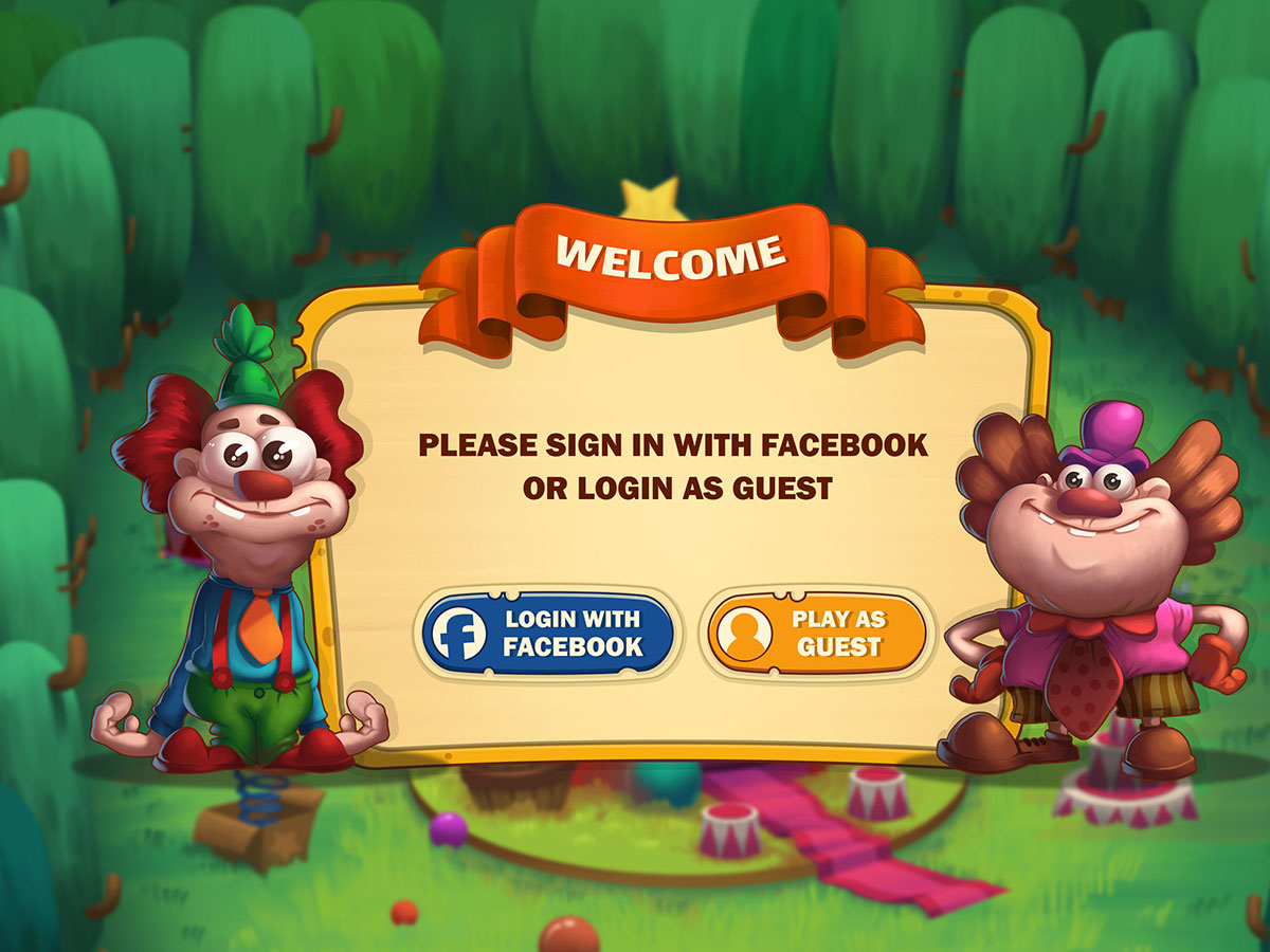 Cartoon Mobile Game UI Design - Login Popup