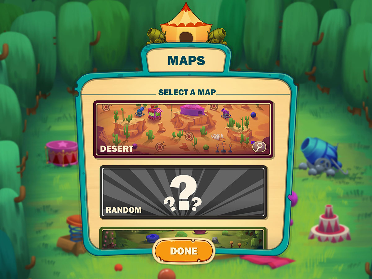 Cartoon Mobile Game UI Design - Maps Popup
