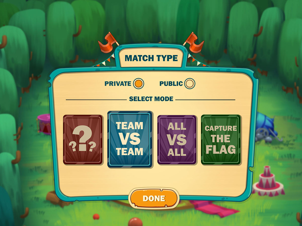 Cartoon Mobile Game UI Design - Match Type Popup