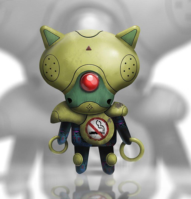 No-smoking Green Robot - Digital painting character design