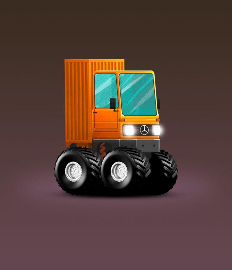 Mercedes Benz Old Truck Minimalist Design Game Car Design