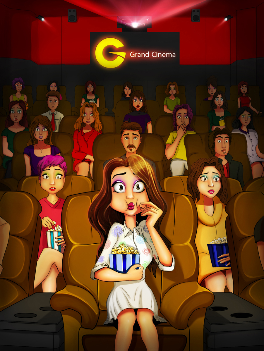 Millennial Fashion Girl In Grand Cinema Female Game Character Design - 2D Illustration