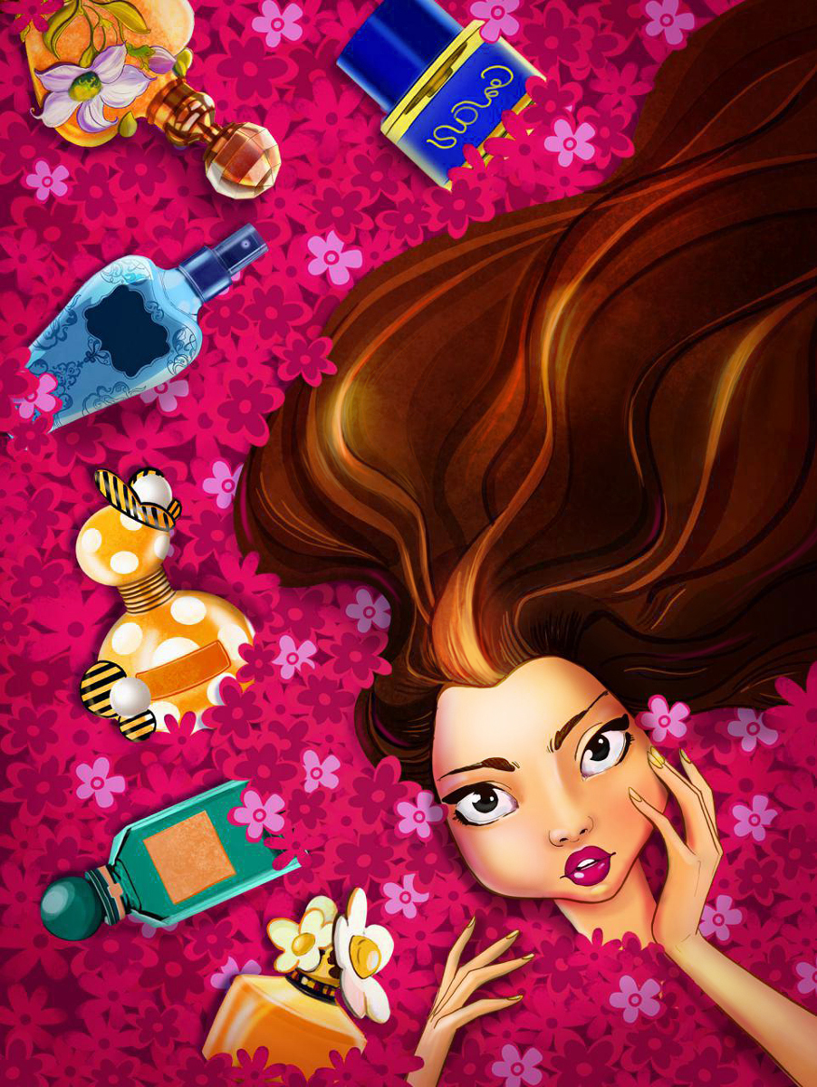 Millennial Fashion Girl In Perfumes and Flowers Female Game Character Design - 2D Illustration