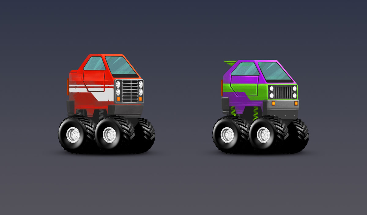Minimalist SUV Cars With Big Wheels Design Game Car Design 2