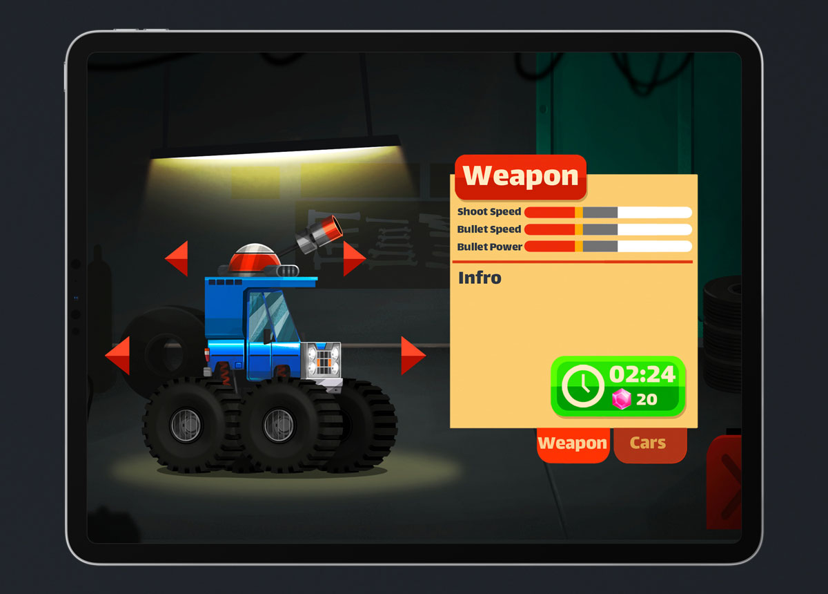 Mobile Game Material UI Design - Weapons Menu