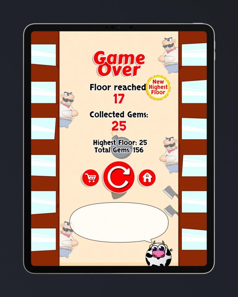 Casual Mobile Game Flat UI Design - Game Over Menu