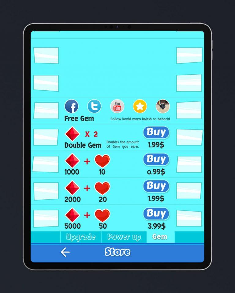Casual Mobile Game Flat UI Design - Store Menu