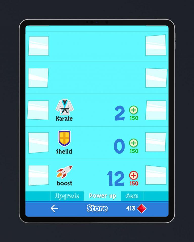 Casual Mobile Game Flat UI Design - Power Ups Menu