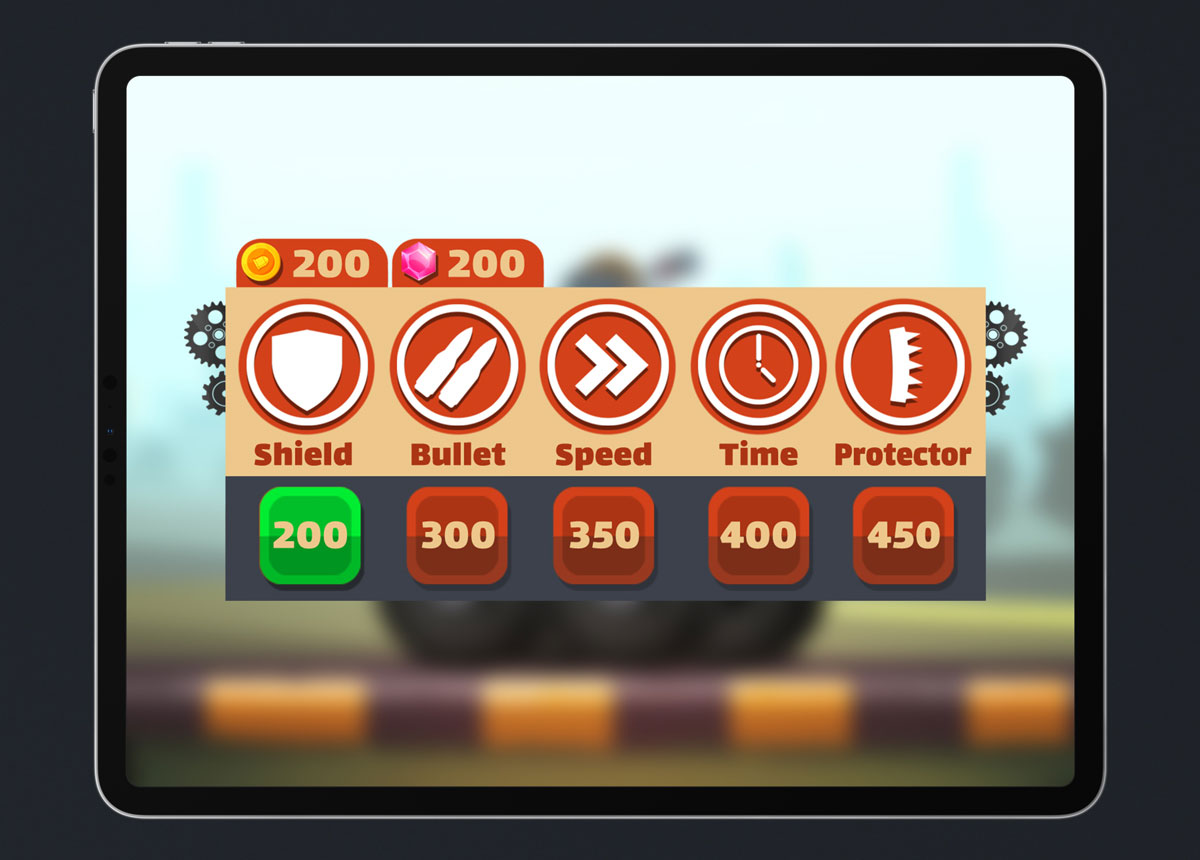 Mobile Game Material UI Design - Powerups Popup