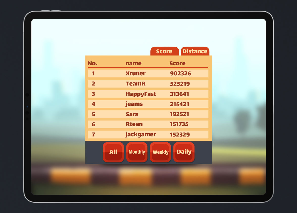 Mobile Game Material UI Design - Leaderboard Popup