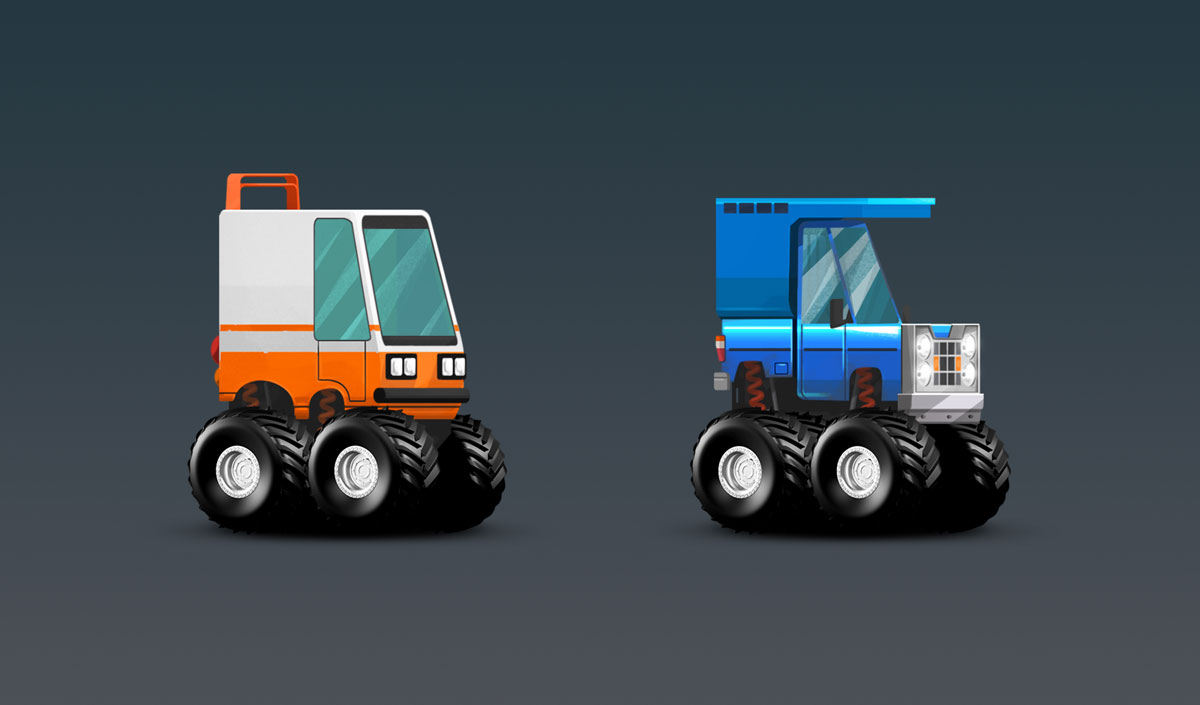 Old Nissan Truck And Mercedes Benz Old Truck With Big Wheels Minimalist Design Game Car Design