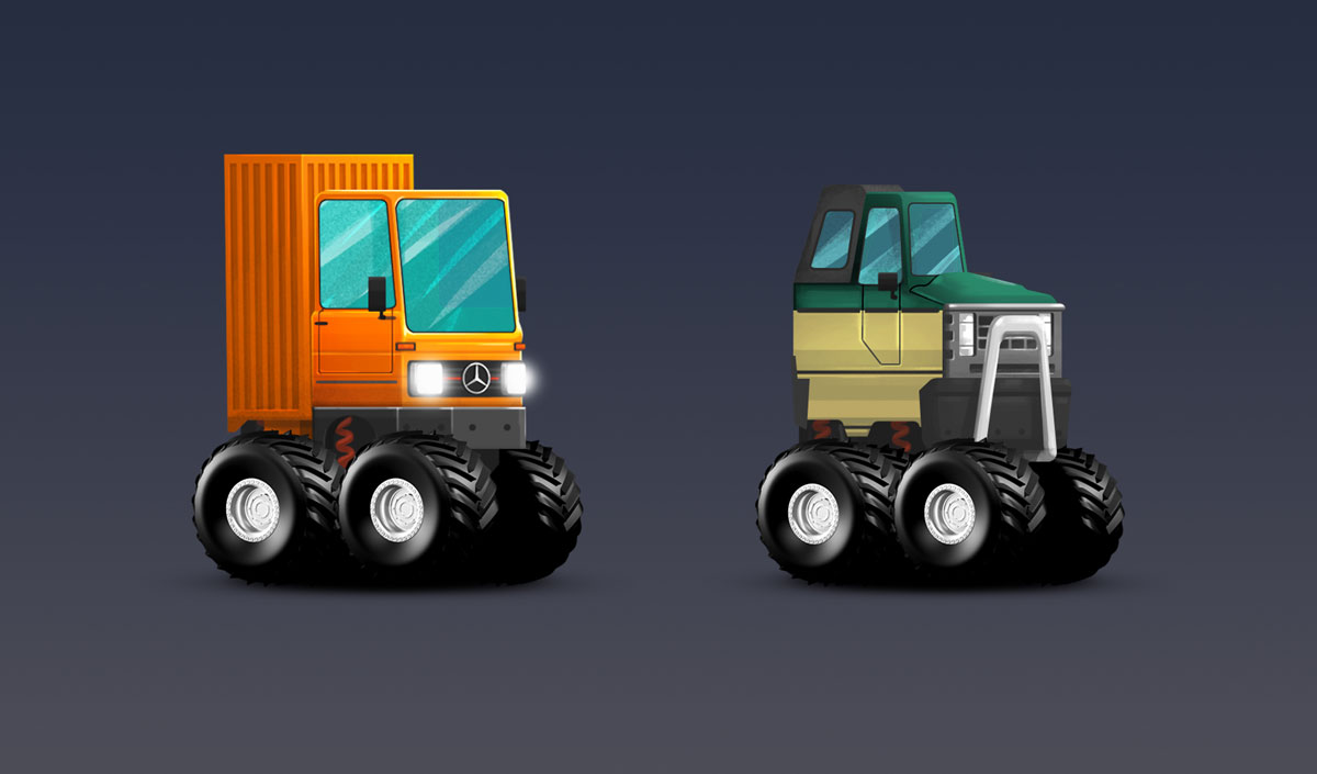 Patrol And Mercedes Benz Old Truck Minimalist Design Game Car Design