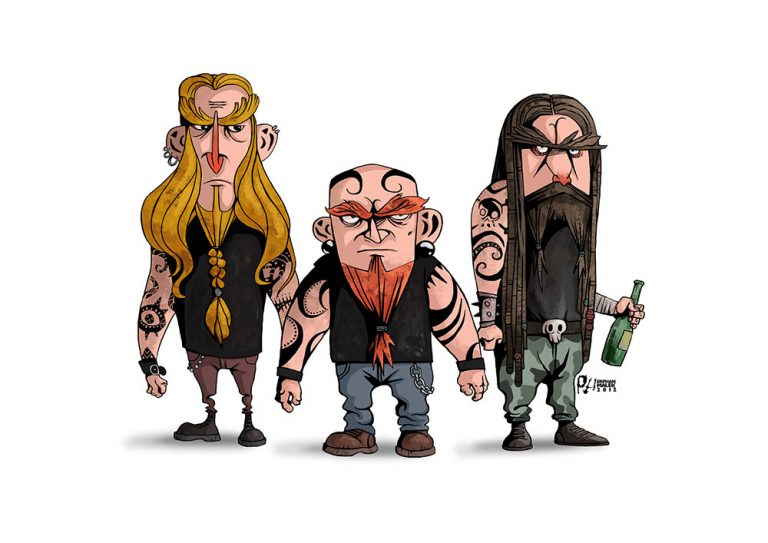 Heavy metal music fans 2D illustration