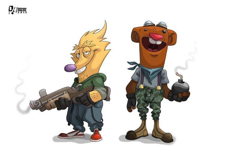 Wolf and alpaca holding weapons 2D illustration