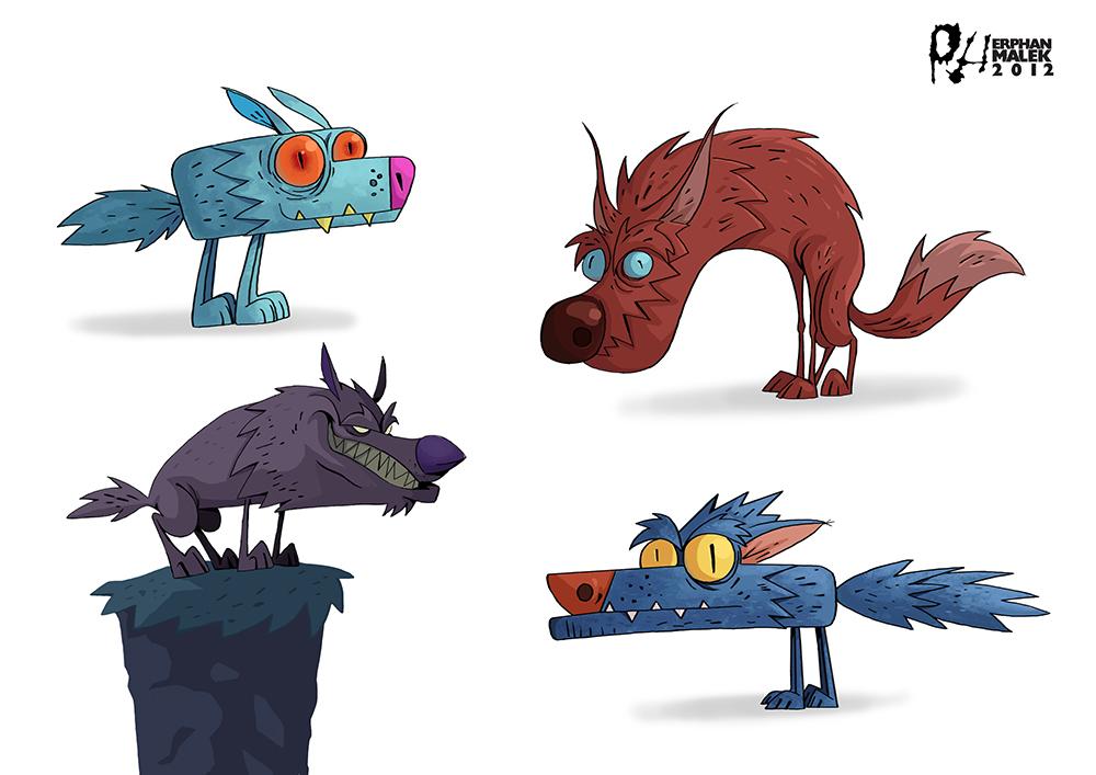 Fantasy wolfs 2D illusttration