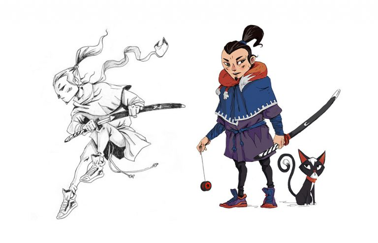 Samurai and his cat - 2D Character Illustration
