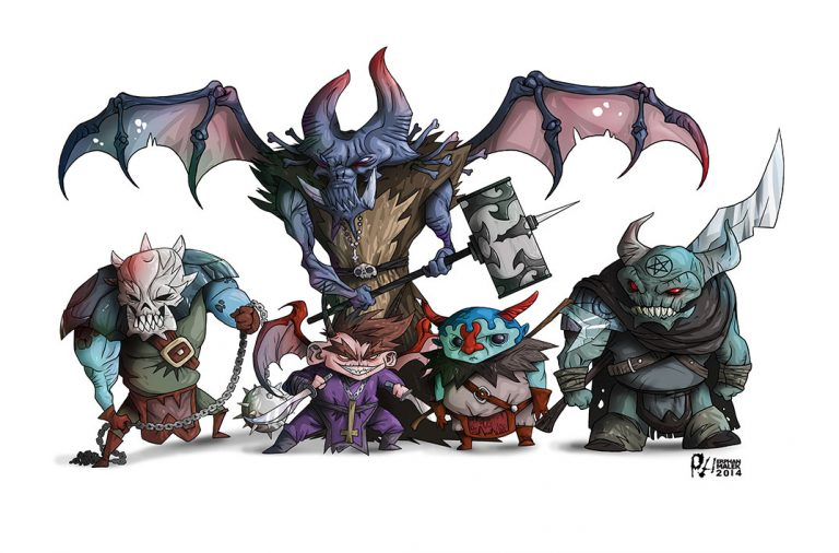 Demonic monsters gang 2D illustration