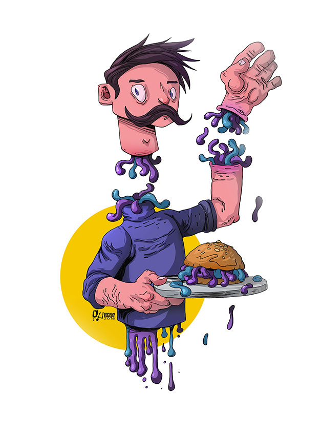 Zombie guy holding a disgusting burger 2D illustration