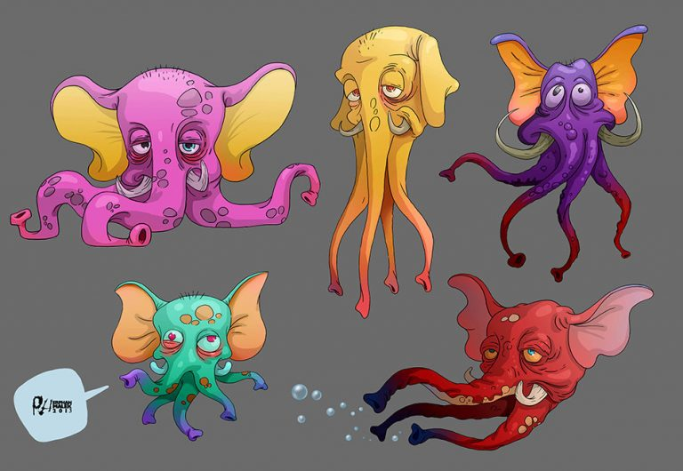 Elephant octopus cartoon surreal 2D illustration