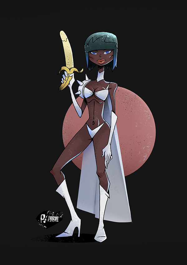 Tall sexy black girl holding a banana 2D illustration