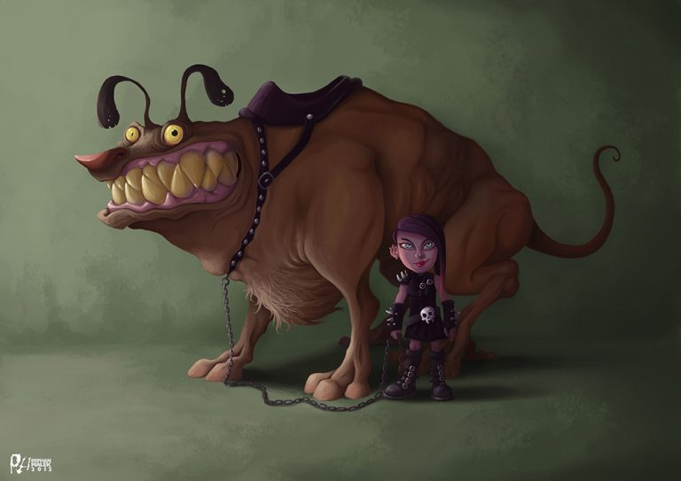 Huge dog with its girl punky owner - Digital painting