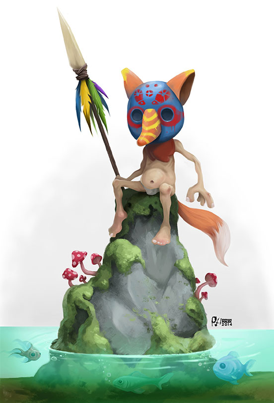 Stone age warrior siting on a rock in a see surreal 2D illustration