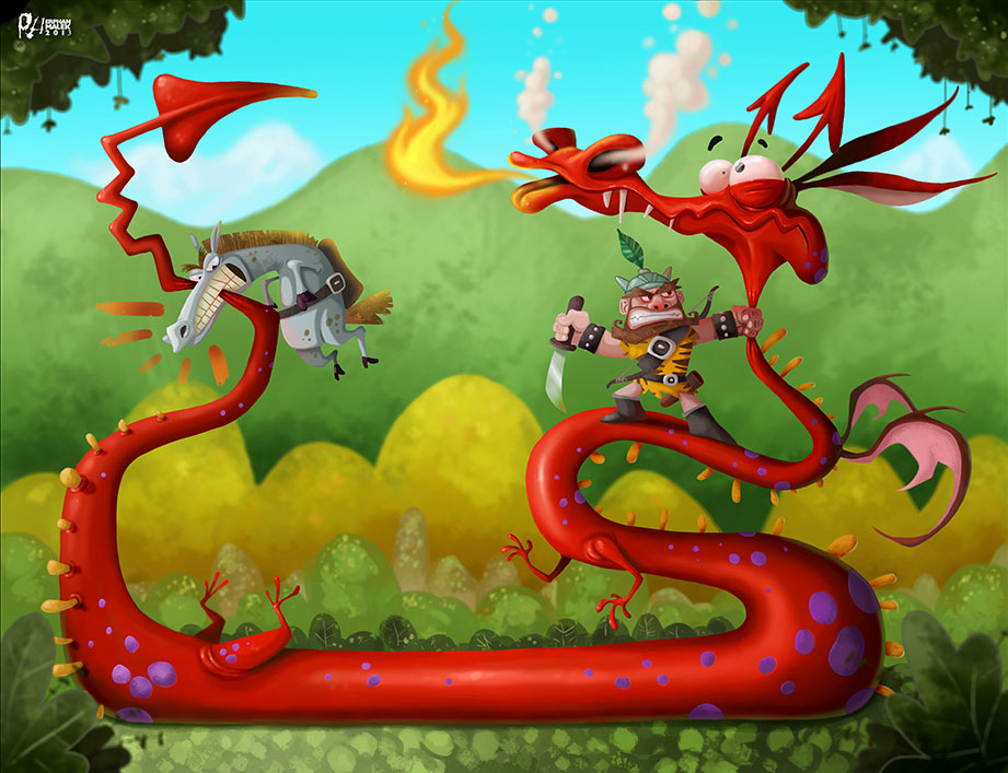 Viking and his horse fighting red dragon funny cartoon 2D illustration