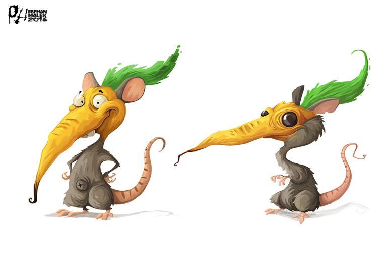 Funny rat cartoon illustration