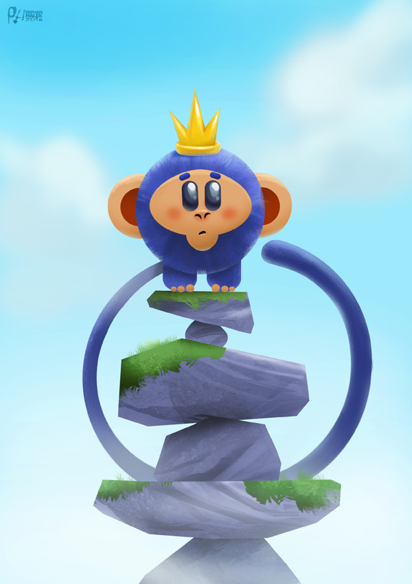 Blue minimal monkey standing on a rock digital painting