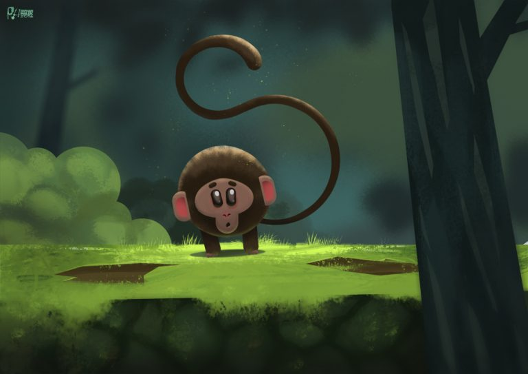 Minimal monkey in forest - Digital painting