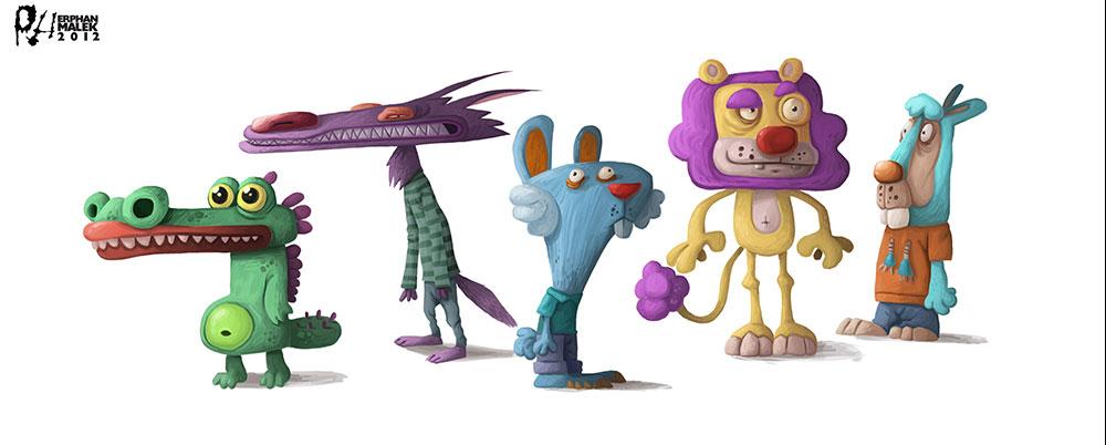 Cute cartoon animals (alligator, lion, rabbit, wolf) digital painting