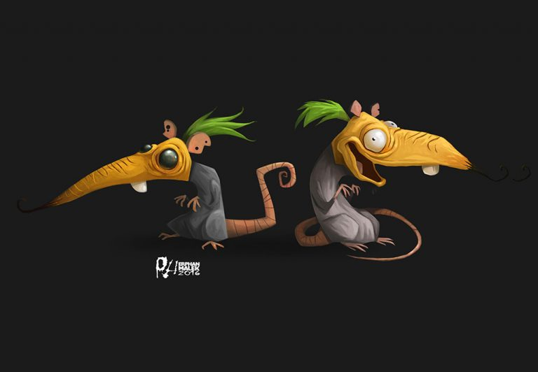 Surreal funny rat 2D illustration