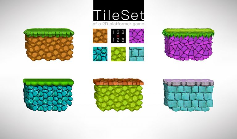 Platformer Game Tilesets In 5 Styles And Colors
