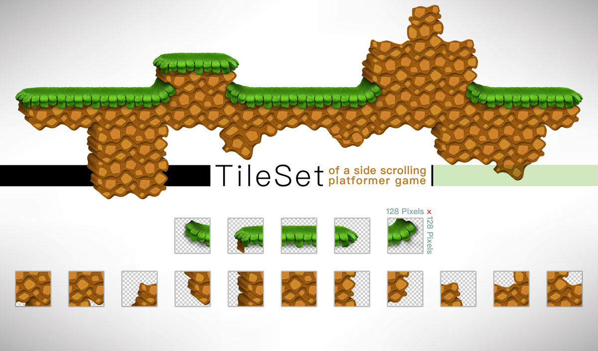 Platformer Game Tilesets Muddy Stones Style