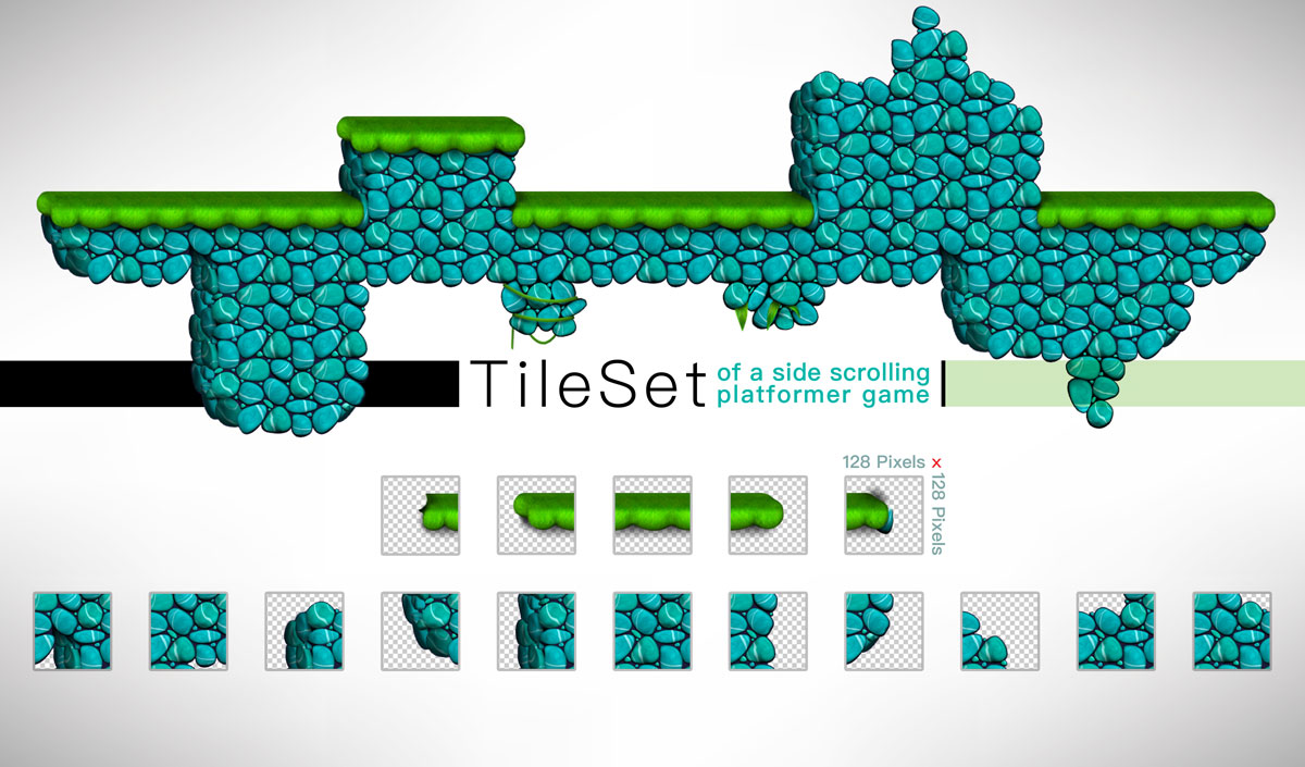 Platformer Game Tilesets Sea Stone Style