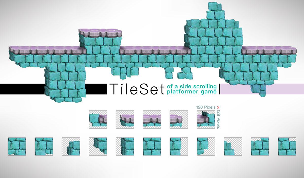 Platformer Game Tilesets Stone Style