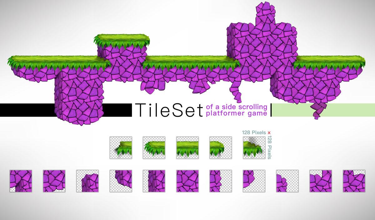 Platformer Game Tilesets Violet Style