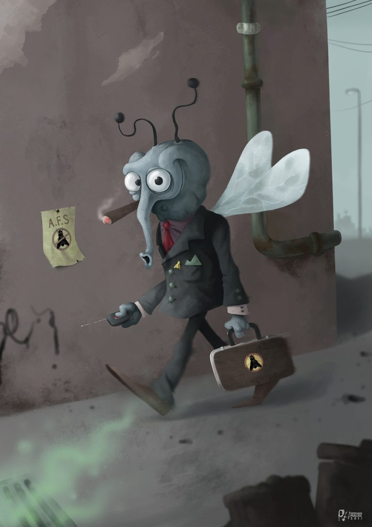Walking fly in street wearing suit holding a briefcase - Digital painting character design
