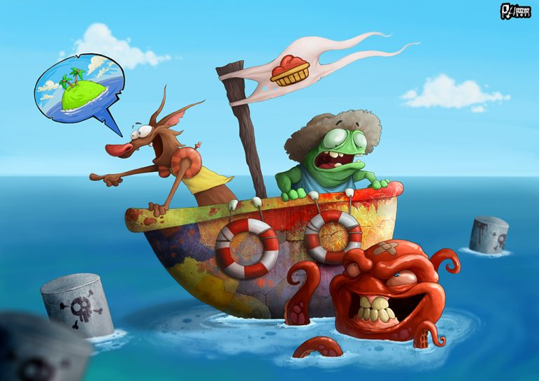 Octopus attacking frog and wolf in a boat - Digital painting character design