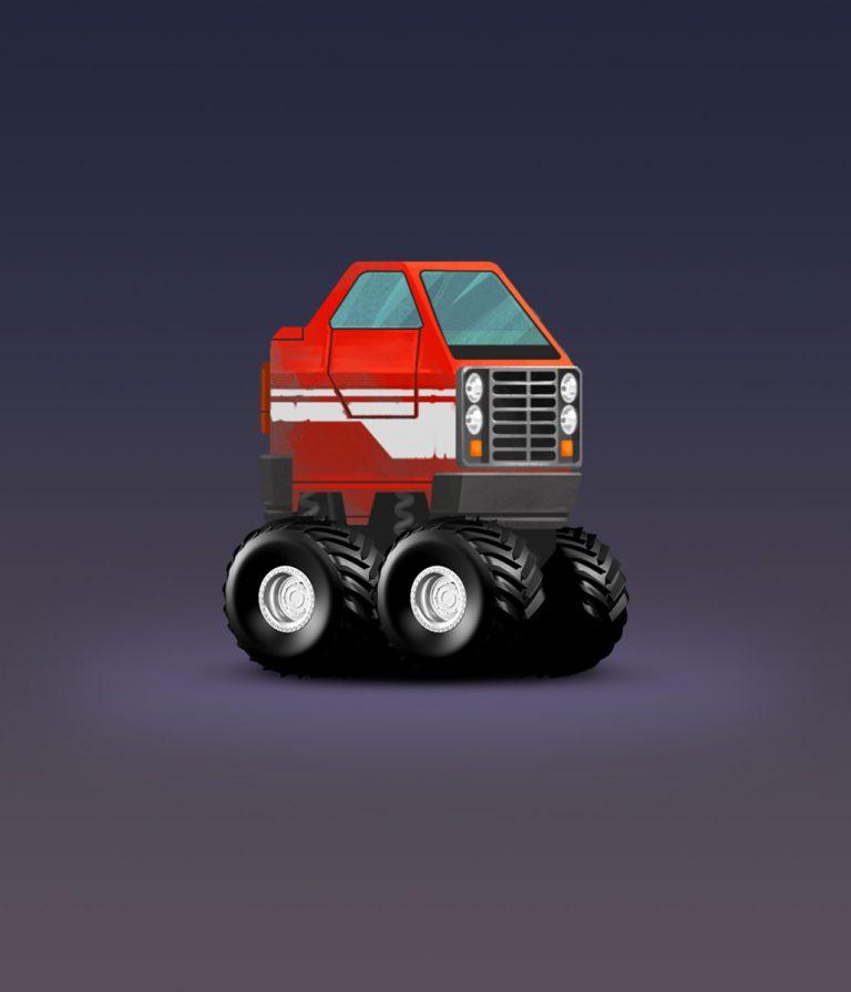 SUV Car With Big Wheels Illustration Game Car Design