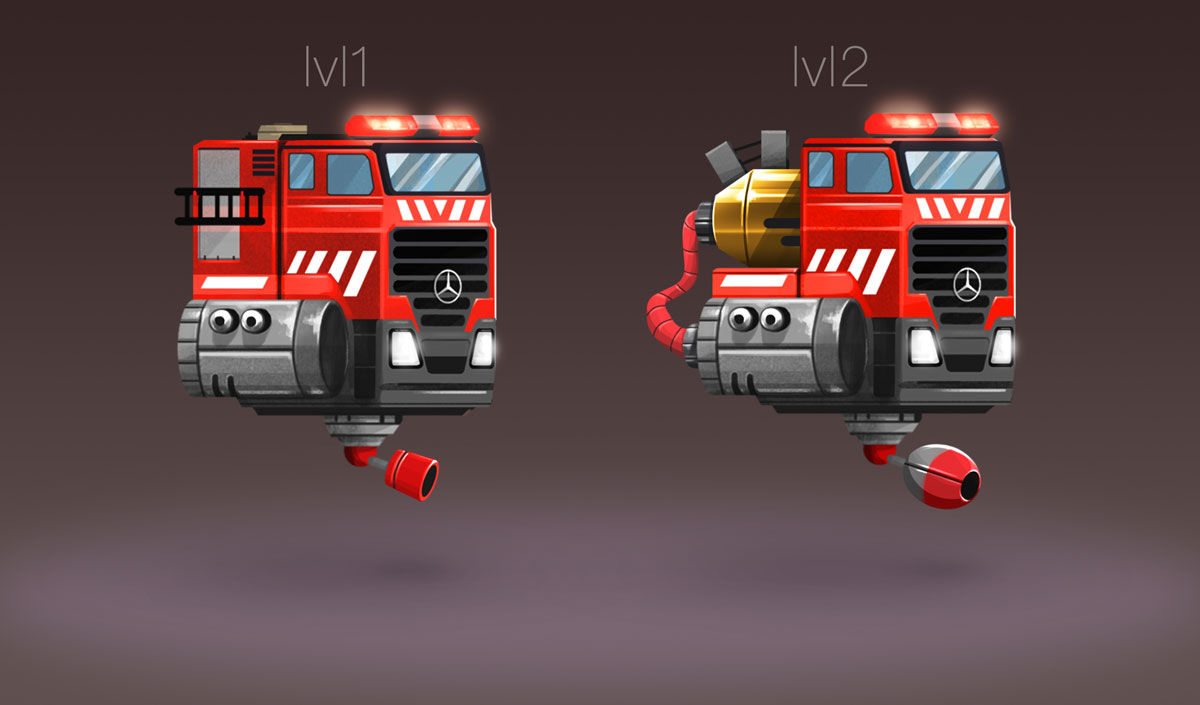 Sci Fi Fire Fighter Minimalist Design Game Car Design
