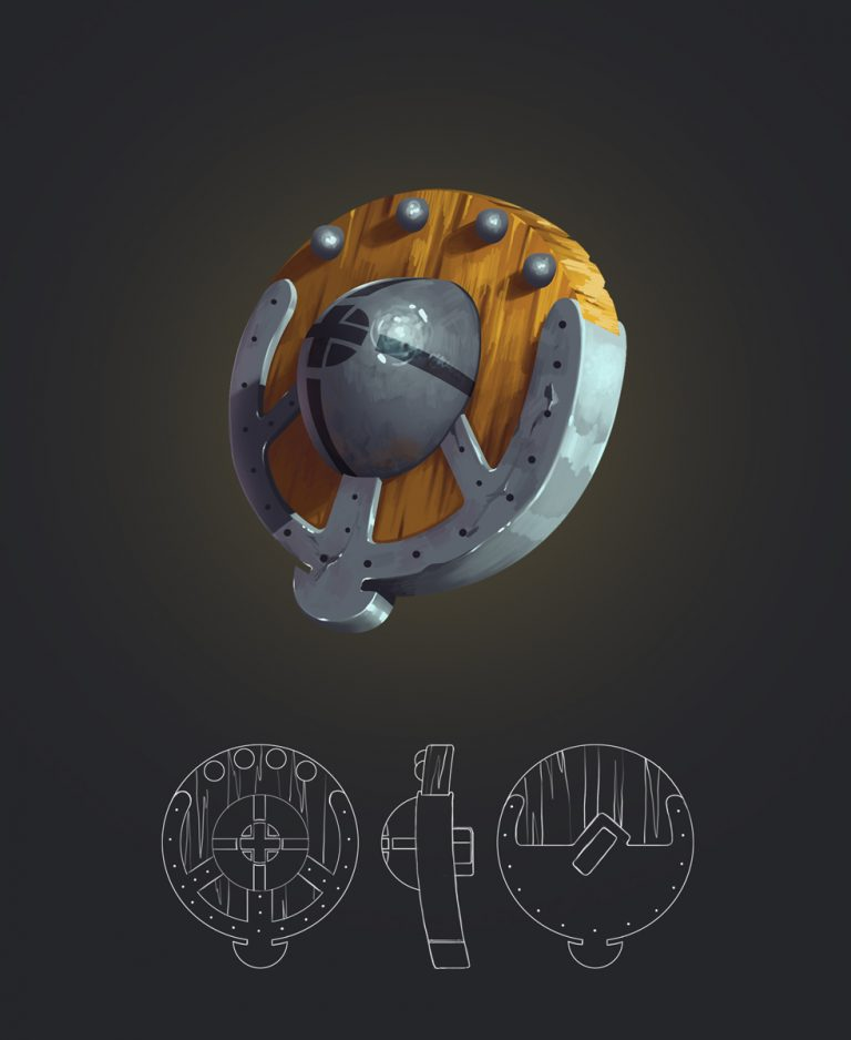 Shield Game Weapon Design and Model Sheet