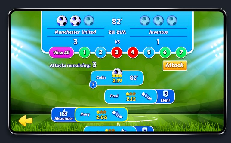 Soccer Mobile Game Blue UI Design - Match Status