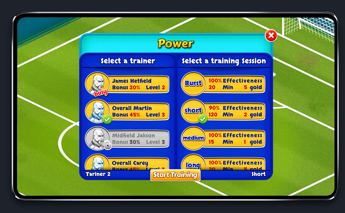 Soccer Mobile Game Blue UI Design - Powers Menu