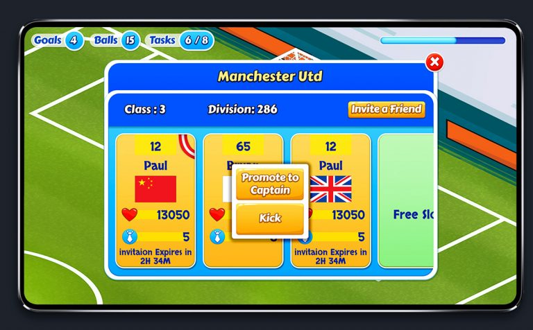 Soccer Mobile Game Blue UI Design - Team Competition