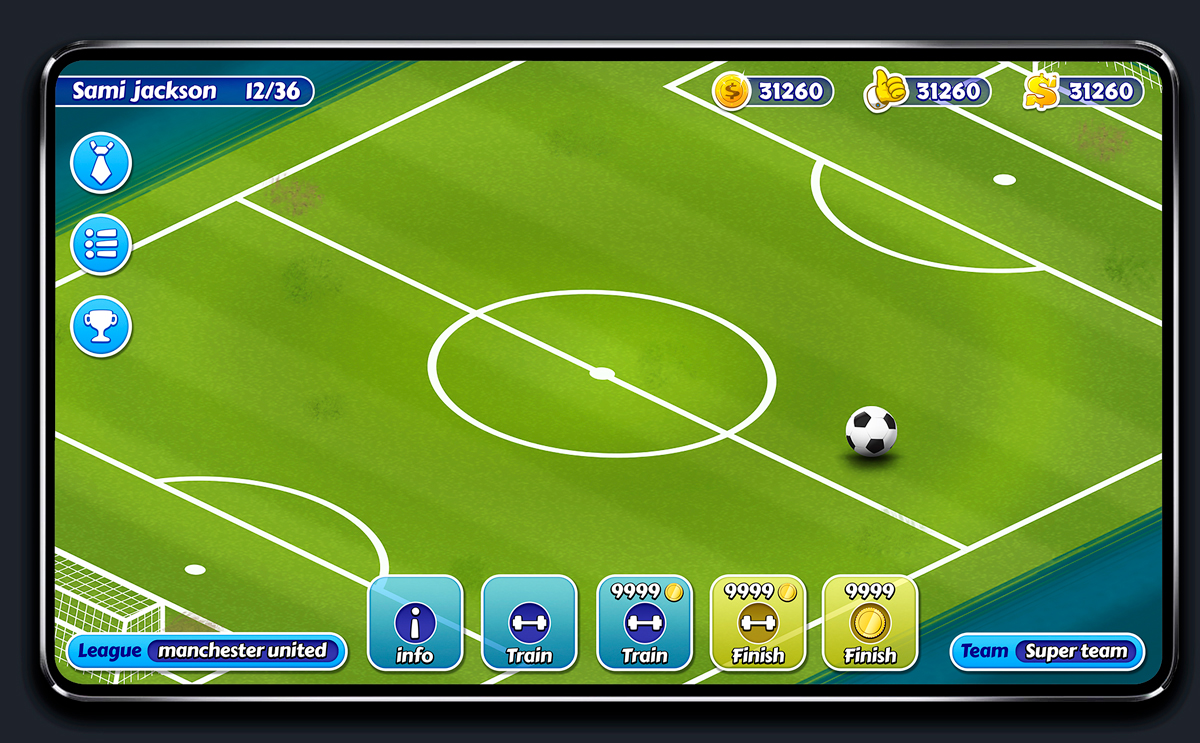 Soccer Mobile Game Blue UI Design - HUD