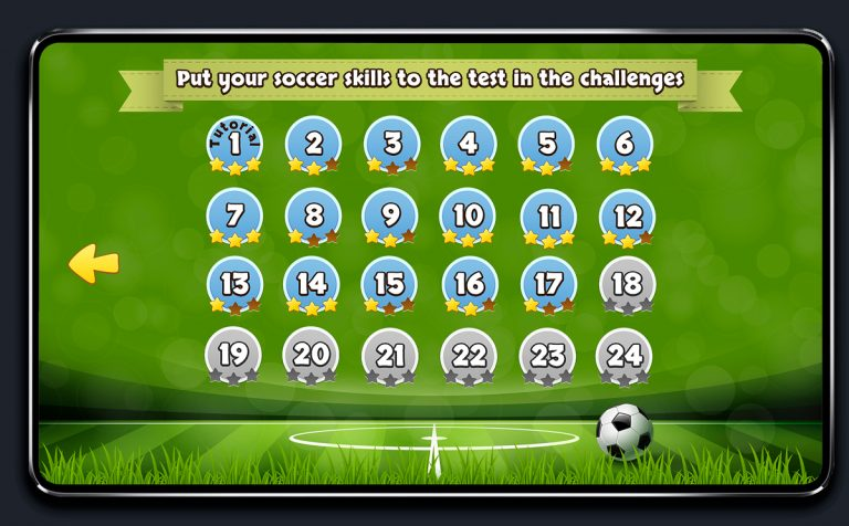Soccer Mobile Game Blue UI Design - Level Select Menu