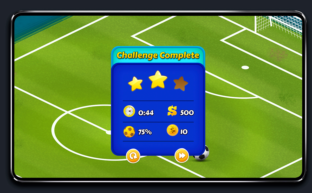 Soccer Mobile Game Blue UI Design - Challenge Complete Menu