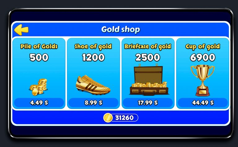 Soccer Mobile Game Blue UI Design - Store Menu